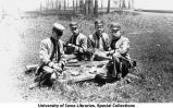 University of Iowa cadets eating lunch at West Liberty, Iowa, 1912