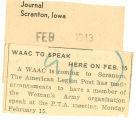 WAAC to speak here on February 15