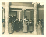 Women outside lounge in Schaeffer Hall lobby, The University of Iowa, 1910