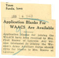 Application blanks for WAACs are available
