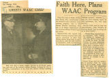 Faith here, plans WAAC program
