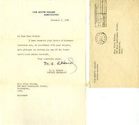 M.A. LeHand, Private Secretary to the Presidents letter to Helen Patricia (Patsy) Wilson exchanging bookplates.
