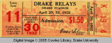 Drake Relays, 1932, Admission Ticket