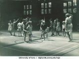 Dancing to a drum in gym class, The University of Iowa, 1930s