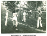 Badminton at a picnic, The University of Iowa, 1938