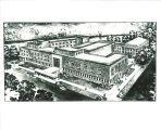Sketch of Iowa Memorial Union, the University of Iowa, 1950s