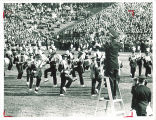 University of Iowa marching band performance at stadium, October 1965
