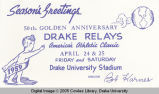 Drake Relays Promotional Post Card, 1959