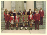 University of Iowa Scottish Highlanders governing board on steps of Old Capitol, 1973 or 1974
