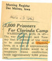 3,000 prisoners for Clarinda Camp