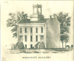 Architectural drawing of Mechanics' Academy, the University of Iowa, 1850