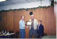 2001  Iowa Soil Conservation Award Program (ISCAP) owner/operator winner Holly and Kay Wagner receive award from Chairperson Todd Heckenberg