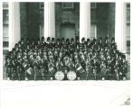 Scottish Highlanders on steps of Old Capitol, The University of Iowa, 1961