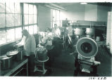 Students at work in pharmacy manufacturing laboratory, The University of Iowa, October 19, 1949