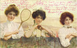 Women leaning on fence with tennis racket, July 17, 1908