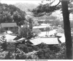 Main buildings, Ittoen, Kyoto, Japan, 1965 (School and its grounds in middle distance; in foreground the kitchen, bath, and offices)