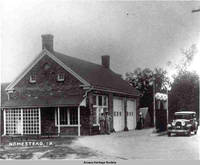 Gas station, Homestead, Iowa, ca. 1930s