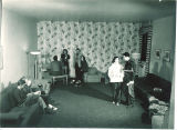 Students gathered in South Quadrangle lounge, The University of Iowa, 1949