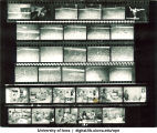 Contact sheet of synchronized swimming  and classrooms, The University of Iowa, 1960s