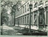 Tree-lined sidewalk along Chemistry-Botany-Pharmacy Building, The University of Iowa, 1950s?