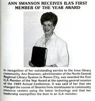 Ann Swanson ILA Member of the Year 1989
