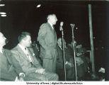 Speaker at Homecoming parade, The University of Iowa, 1940s
