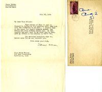 Stuart D. Walker letter to Helen Patricia (Patsy) Wilson exchanging bookplates.