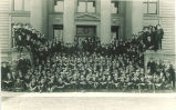 Group of men on steps of Macbride Hall, The University of Iowa, 1910s