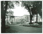 Street view of Burge Residence Hall, the University of Iowa, 1960s?