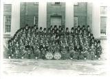 Scottish Highlanders on Old Capitol steps, The University of Iowa, November 15, 1958