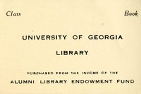 University of Georgia Library Bookplate