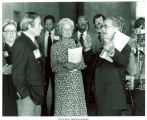 Mary Louise Smith listening to speaker, Detroit, Mich., between 1980 and 1984