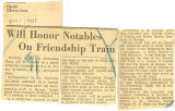 Will honor notables on Friendship Train