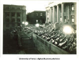 Speech on west portico of Old Capitol, The University of Iowa, 1920s?