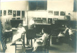 Students painting in art studio in Physics building, The University of Iowa, 1910s