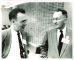Gene Raffensperger, left, and Professor Carroll Coleman, The University of Iowa, 1950s