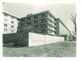 Northwest view of Burge Residence Hall before landscaping, the University of Iowa, 1960s?