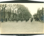 Armistice Day closing parade on Clinton St. by Pentacrest, The University of Iowa, November 11, 1918