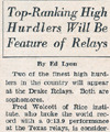 Drake Times-Delphic, 1938, Top-Ranking High Hurdlers Will Be Feature of Relays.