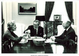 Mary Louise Smith at table with Vice Pres. Nelson Rockefeller and colleague, Washington, D.C.,  November 22, 1976