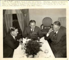 Secretary of Agriculture Henry Wallace in radio farm discussion with Lyman Bryson and Gen. Hugh S. Johnson (left to right), Washington, D.C., October 30, 1938
