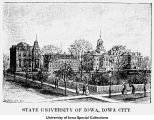 Pentacrest engraving, The University of Iowa, ca. 1880