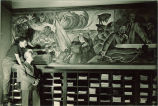 Mural by Richard F. Gates, left, The University of Iowa, 1930s