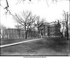 North end of Pentacrest with North Hall, Old Dental Building and Old Science (Later Calvin Hall), The University of Iowa, March 1904
