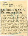 Uniformed WAAC's entertained here