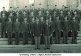 Advanced R.O.T.C. cadets on steps of the Old Capitol, The University of Iowa, ca. 1943