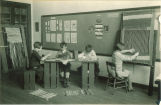 Second and third graders in weaving class, The University of Iowa elementary school, February 1929