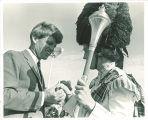Sen. Robert Kennedy greets Scottish Highlander, The University of Iowa, 1966