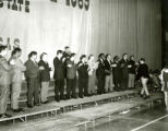 Special alumni called on stage on the night before Homecoming, 1969