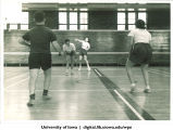 Badminton inside Esther French Women's Gymnasium, The University of Iowa, 1938